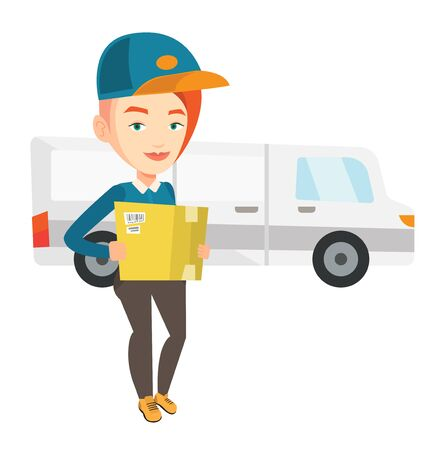 Delivery courier carrying cardboard boxes. Stock Vector - 69192544