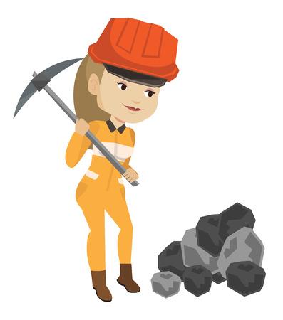 Mijnwerker werkt met pickaxe vector illustratie. Stock Illustratie