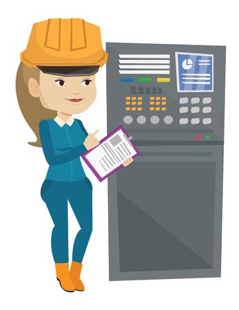 machine operator: Engineer standing near control panel. Illustration