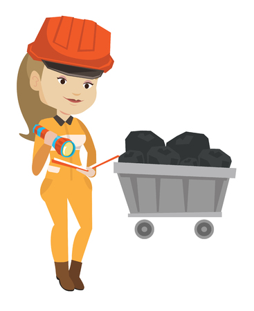 checking: Miner checking documents vector illustration. Illustration