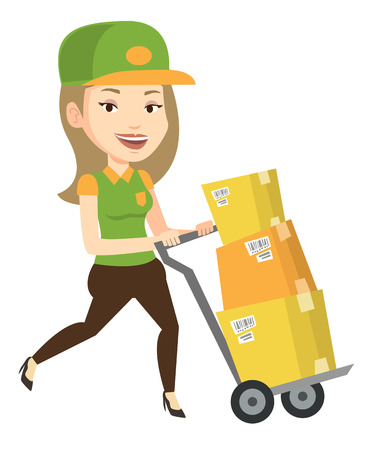 Young delivery postman with cardboard boxes on trolley. Delivery postman pushing trolley with boxes. Delivery postman delivering parcels. Vector flat design illustration isolated on white background.