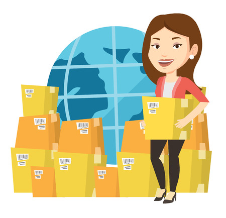 Business woman holding box on the background of world map. Woman working in international delivery service. International delivery concept. Vector flat design illustration isolated on white background