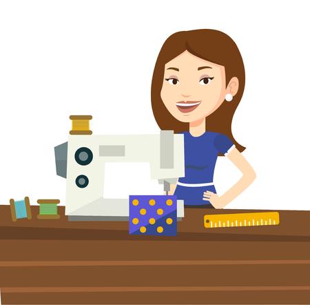 Seamstress using sewing machine at workshop.