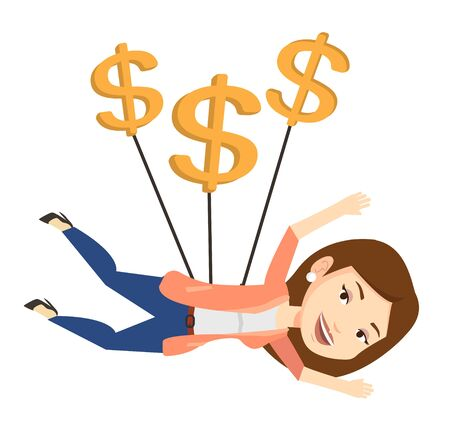 Businesswoman flying with dollar signs. Happy businesswoman gliding in the sky with dollars. Businesswoman using dollar signs as parachute. Vector flat design illustration isolated on white background