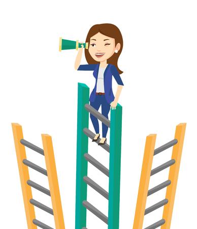 Mujer de negocios en busca de oportunidades. Mujer de negocios que usa el catalejo para la búsqueda de oportunidades. Oportunidades de negocio concepto. Vector de diseño plano ilustración aislado sobre fondo blanco.