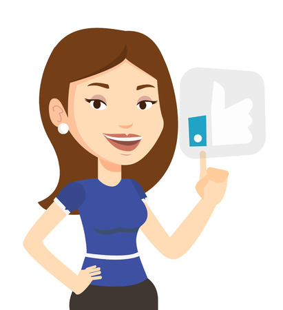 Woman pressing like button. Caucasian woman pressing modern social button with thumb up. Smiling woman pressing social network like button. Vector flat design illustration isolated on white background