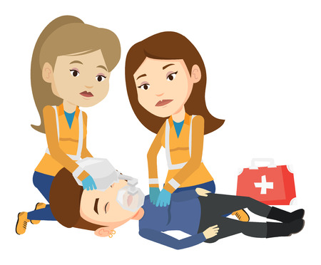 Paramedics doing cardiopulmonary resuscitation of a woman. Team of emergency doctors during process of resuscitation of an injured woman. Vector flat design illustration isolated on white background. Illustration