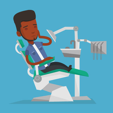 toothache: Young african-american male patient visiting dentist because of toothache. Sad male patient suffering from toothache. Man having a strong toothache. Vector flat design illustration. Square layout.