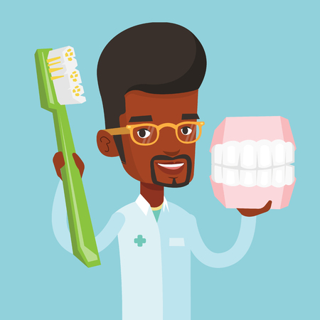 orthodontist: Young african-american male dentist holding dental jaw model and a toothbrush in hands. Friendly male dentist showing dental jaw model and toothbrush. Vector flat design illustration. Square layout.