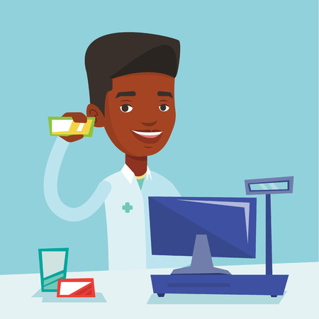 dispensary: African-american pharmacist in medical gown standing at the counter in the pharmacy. Pharmacist showing some medicine. Pharmacist holding a box of pills. Vector flat design illustration. Square layout