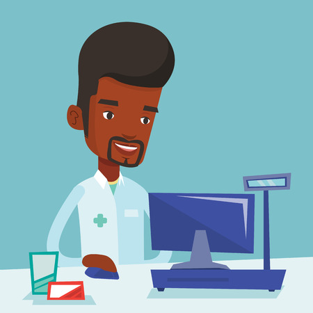 African-american pharmacist in medical gown standing at the pharmacy counter. Pharmacist in the drugstore. Young male pharmacist working on a computer. Vector flat design illustration. Square layout.