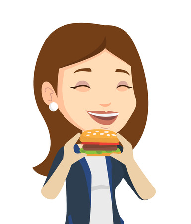 take out: Caucasian joyful woman eating hamburger. Happy woman with eyes closed biting hamburger. Smiling woman is about to eat delicious hamburger. Vector flat design illustration isolated on white background.