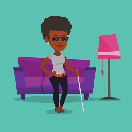 Blind woman with stick vector illustration.