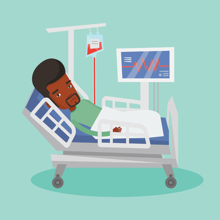 lying in bed: Man lying in hospital bed vector illustration.