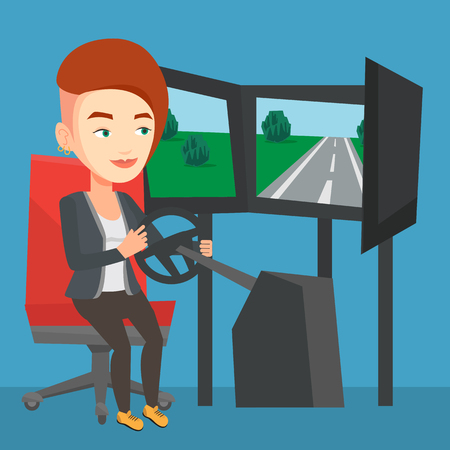 Woman playing video game with gaming wheel.