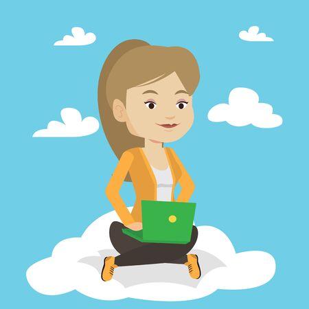 cloud technology: Woman using cloud computing technology.