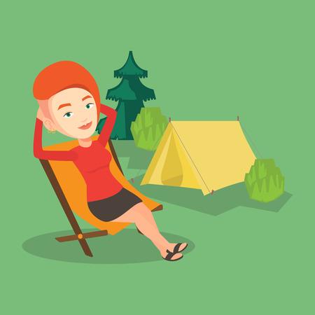 キャンプに折りたたみ椅子に座っている女性。  イラスト・ベクター素材