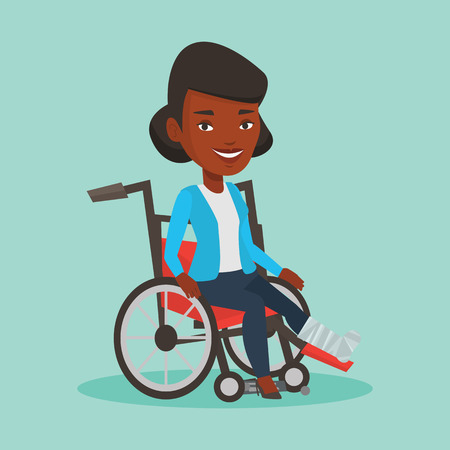 Woman with broken leg sitting in wheelchair. Illustration
