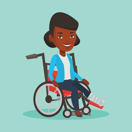 Woman with broken leg sitting in wheelchair. Illustration