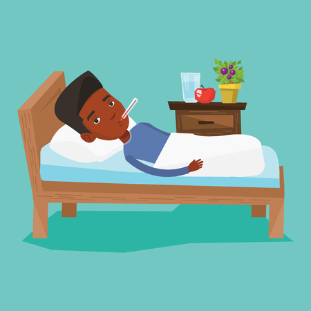Sick man with thermometer laying in bed. Illustration