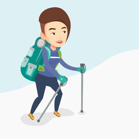 Young mountaneer climbing a snowy ridge. Illustration