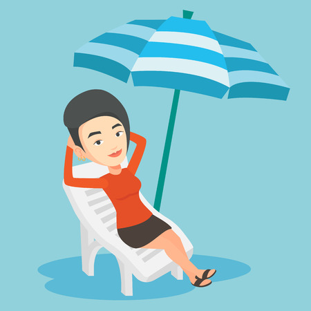 Woman relaxing on beach chair vector illustration.