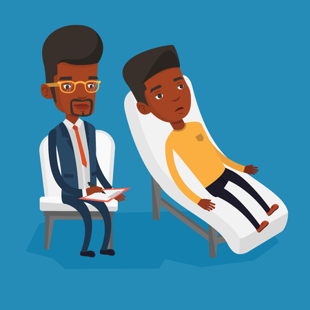 session: Psychologist having session with patient. Illustration