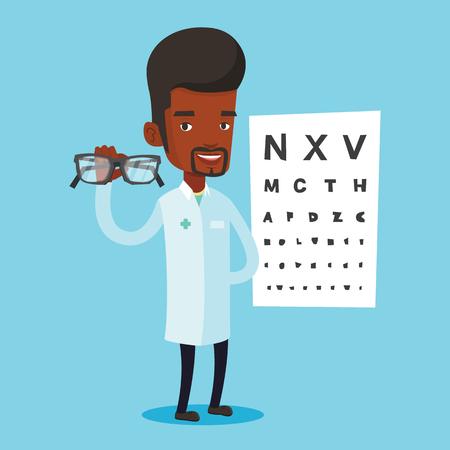 ophthalmologist: Professional ophthalmologist holding eyeglasses.