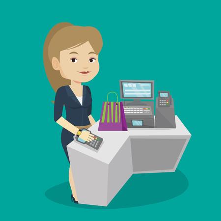paying: Woman paying wireless with smart watch.