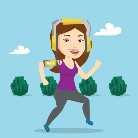 Woman running with earphones and smartphone. Illustration
