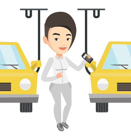 controlling: Worker controlling automated assembly line for car Illustration