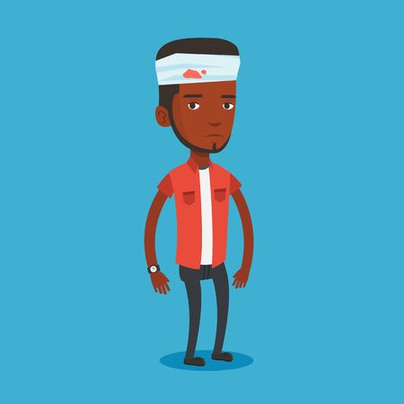 Man with injured head vector illustration.