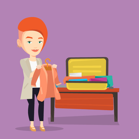 suitcase packing: Woman packing his suitcase vector illustration.