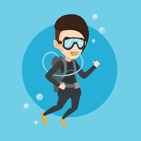 Woman diving with scuba and showing ok sign.