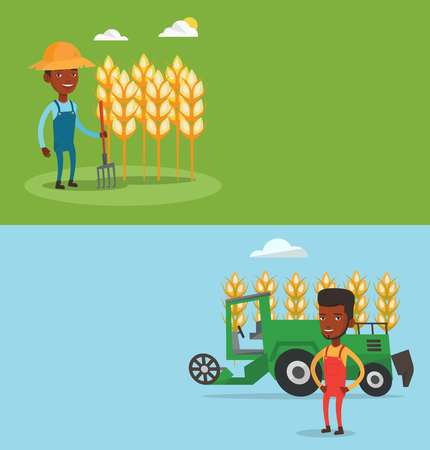 Two agricultural banners with space for text. Illustration