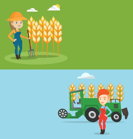 Two agricultural banners with space for text. Stock Illustratie