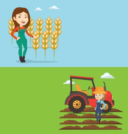 Dwa transparenty rolne z miejsca na tekst. Ilustracje wektorowe