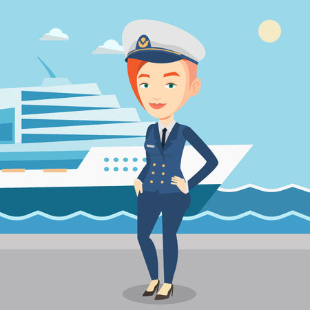 Smiling ship captain in uniform at the port. Illustration