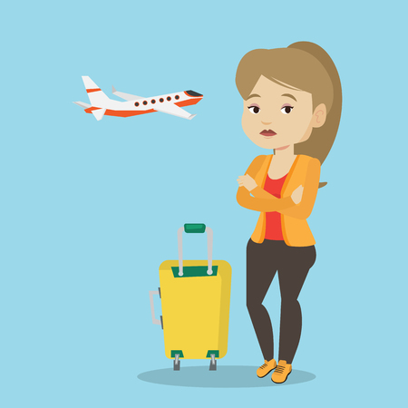Young woman suffering from fear of flying. Illustration