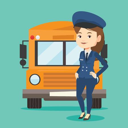 Ilustración vectorial del conductor del autobús escolar.