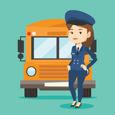 school: School bus driver vector illustration. Illustration