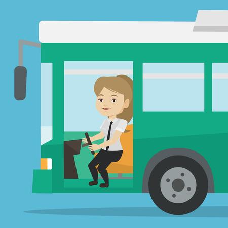 Caucasian bus driver sitting at steering wheel.