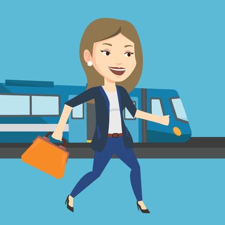Businesswoman at train station vector illustration Illustration