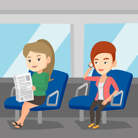 people traveling: People traveling by public transport. Illustration
