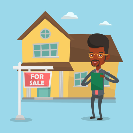 lease: Real estate agent signing contract. Illustration