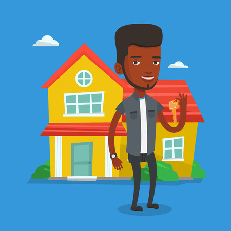 house for sale: Real estate agent with key vector illustration. Illustration
