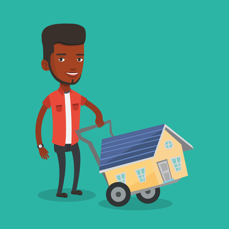 Young man buying house vector illustration.