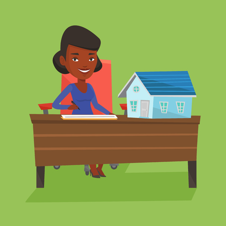Real estate agent signing contract. Stock Illustratie