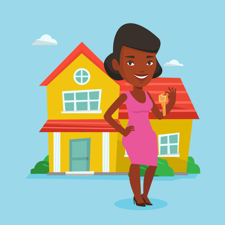 apartment for rent: Real estate agent with key vector illustration. Illustration