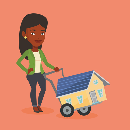 ownership: Young woman buying house vector illustration.